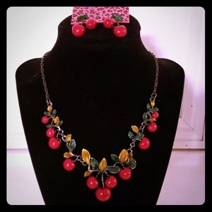 Betsey Johnson Red Cherry Earrings And Necklace